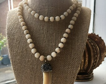 Continuous Strand Beaded Necklace with Bone Pendant