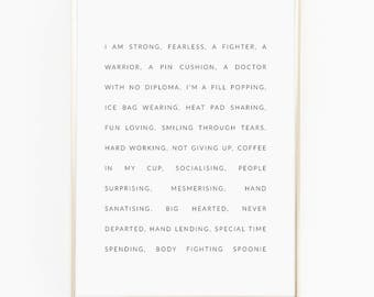 Print / Poster, 'Spoonie', Wall Art, Modern, Minimal, Wall Decor, Home Decor, Inspirational Print, Quote Print, Scandinavian