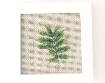 Green Leaf Cross Stitch Kit, modern cross stitch kit