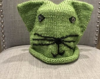 Handmade knitted cat hat