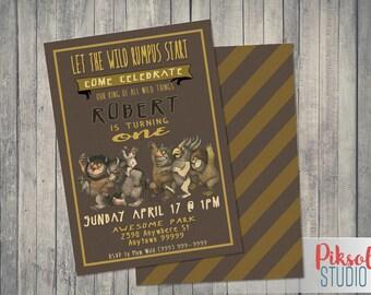 Where the Wild Things Are Invitation, 5x7 or 4x6, Wild Rumpus Birthday digital invitation