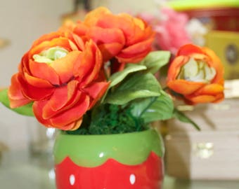 Silk Floral Arrangement, Artificial Flowers, Ranunculus Flowers in Strawberry Pot