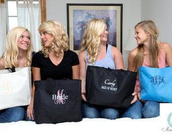 Set of 4 monogram Tote bags,  Bridesmaid Gift, Wedding Party Gift,monogram teacher gifts, monogram Bridesmaid gifts