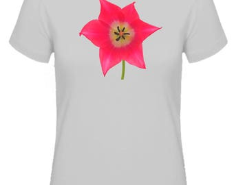 Women's T-Shirt white with Print: Flower Tulpe