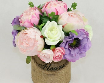 Silk Peony Flowers in Jute Bucket with Rope Handle, Artificial Handmade Decor