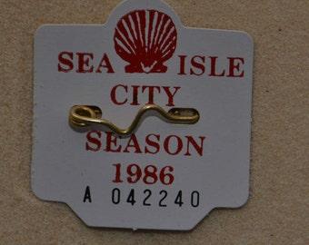 """1986 Canvas Print 14""""x14"""" Sea Isle City Beach Tag"""