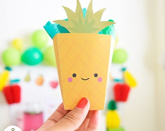 Pineapple Print box, Pineapple little box, popcorn box, Fruit printables, Frutti tutti