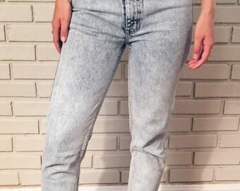Acid Wash Vintage Jordache 80s 90s High Waisted Zipper Ankle Jeans