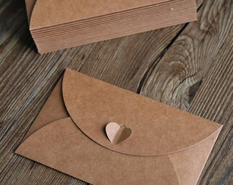 Set of Brown Kraft Paper Envelopes with Heart Closure/Wedding envelopes/Kraft envelopes