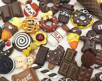 Brown Sweets Cabochon Mix (10 pcs / 30 pcs by Random) Kawaii Fake Food Deco Resin Cabochons