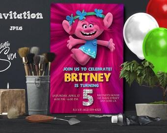 Trolls Invitation. Trolls Birthday. Trolls Birthday Invitation. Trolls Party. Invitations.Trolls Party Theme. Trolls. Girls. DIY.