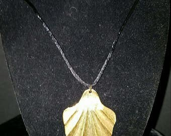 Kitten's Paw 46x42mm Gold Plated on Black Satin Cord