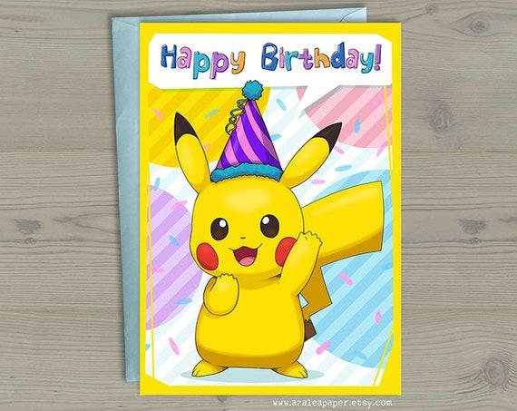 Pikachu Pokemon Go Happy Birthday Party Hat Geek Nerdy Anime – Birthday Pikachu Card
