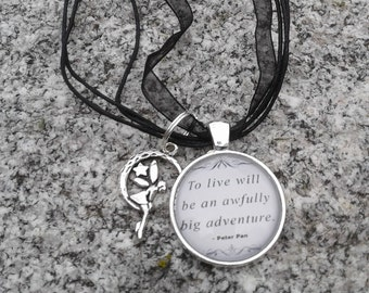 Peter Pan Quote Necklace with Charm