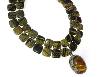 "Necklace ""VALENCIA"" of natural jasper and tiger's eye."