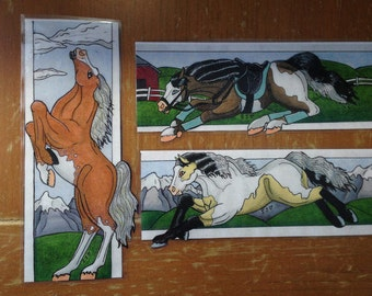 Paint Horse Bookmarks Set of 3
