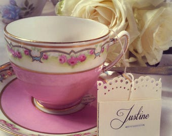 10 Party Table Wedding Breakfast Message Name Places English Tea bags Vintage Tea Cups Personalised names favours