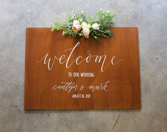 Welcome Wedding Sign. Welcome To Our Wedding Custom Wooden Signage. Vintage Wedding Decoration. Event Sign.