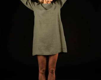 Linen sleeved mini dress / Simple loose linen dress / Linen tunic dress / sage