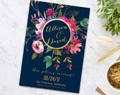 Save-The-Date postcard, Wedding Announcement, Printable Save the Date, Digital File, Navy and gold Floral Card, watercolor, 5x7 Inch