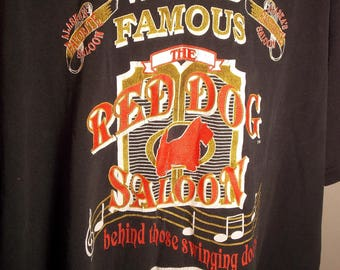 90s World Famous Red Dog Saloon Juneau Alaska Souvenir Novelty Shirt Jerzees LARGE