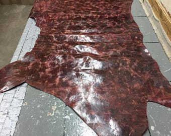 Dark Red Leather Skin, 1.2-1.4 mm, shiny leather, high quality leather, multiple colors available, genuine leather, leather hide