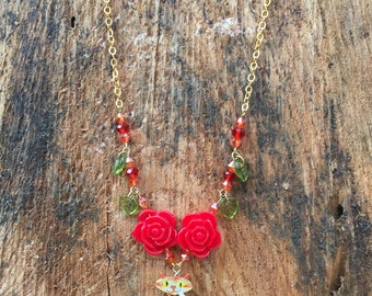 Ginger cat and red rose necklace