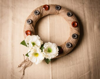 Burlap Button Wreath