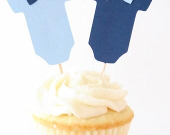 Boy Baby Shower Cupcake Topper - Little Man Cupcake Topper - Onesie Cupcake Topper - Baby Shower Decoration