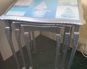 Nest of Tables refurbished upcycled glass top metallic silver painted legs seaside theme painted furniture
