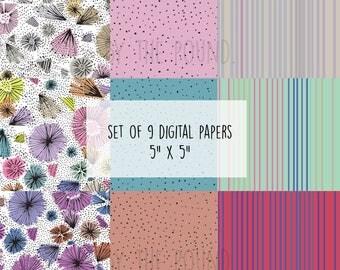 floral digital paper, digital download, digital scrapbook paper, doodles, illustration, jpg
