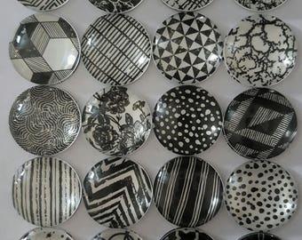 Set of 4 handmade monochrome decorative glass magnets