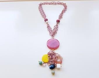 Gemstone necklace, long necklace, necklace craft, summer necklace, Italian ceramics, pink necklace, elegant necklace