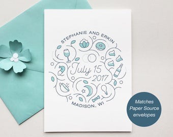 Printable Wedding Save the Date   Completely Custom   Blue