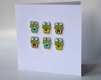 Frogs wooden button greeting card with envelope 5x5