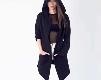 Black Sweatshirt, Oversize Black Sweatshirt, Black Hoodie, Black Jacket, Sweatshirt, Loose Sweatshirt, Sweatshirt