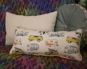 Hippie Van Retro Lumbar Pillow, Decorative Long Pillow