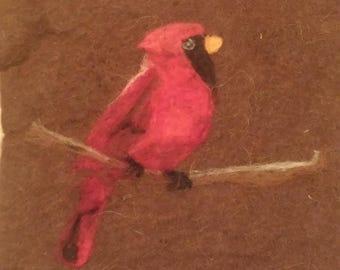 Red Cardinal Needle Felt Art