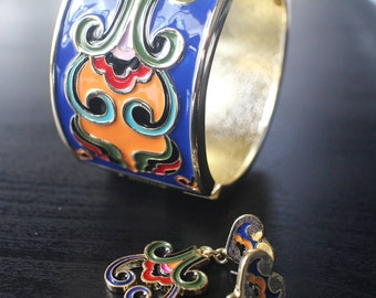 Exotic color brass bangles and earrings set
