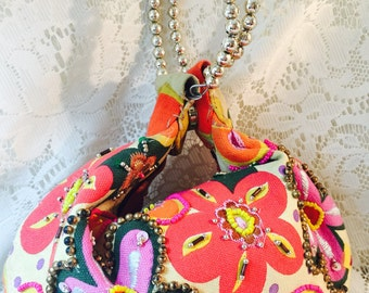 Canvas and Beaded Floral Top Handle/Wristlet - Purse - Made In India