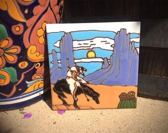 Earthtones Ceramic Tile Trivet/Coaster / Southwestern Kitchen Decor/ End of the Trail/ Collectible Tile Art