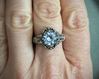 Large Genuine Aquamarine Art Deco Filigree Sterling Silver Ring/ Size 6/ 8mm Faceted Pale Blue Aquamarine Gemstone Ring/ Sterling Silver