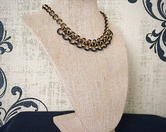 Chainmail Necklace - Japanese Lace Scoop Chain in Black and Solid Brass