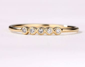 Three Five Stone Wedding Band Gold Diamond ring bezel set Minimalist Dainty Simple Stacking Stackable Matching Promise Anniversary Woman