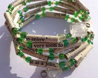 Green and Yellow Sense and Sensibility Book Bead Bracelet