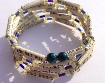 Yellow and Blue Sense and Sensibility Book Bead Bracelet