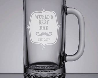 World's Best Dad Beer Mug, New Dad Gift, Etched Beer Glass, 16oz Beer Mug, Engraved Pint, Dad Pint Glass, Sandblasted Mug, Father's Day Gift