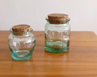 Pair of glass jars and Cork - France - vintage