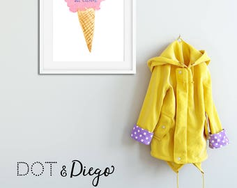 I scream for Ice Cream,Printable, Watercolour,Digital Print,Nursery Decor,Wall Art,Blue,Children's Bedroom,Scandinavian, A4 size,Download