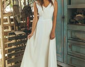 A line wedding dress boho, Medieval wedding dress, Country wedding dress, korean wedding dress, Simple Wedding dress, Moonflower offwhite